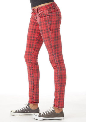 Delia's Red Plaid Skinny Jean