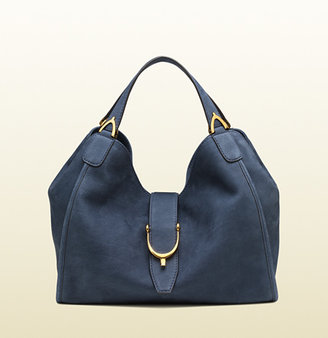 Gucci Soft Stirrup Suede Shoulder Bag