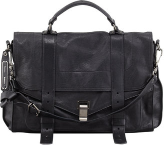 Proenza Schouler PS1 Large Leather Mailbag, Black