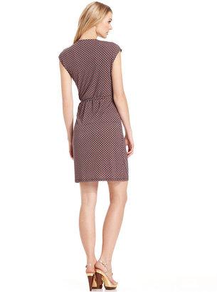MICHAEL Michael Kors Dress, Cap-Sleeve Printed Wrap