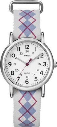 Timex Women's T2N918 Weekender Mid-Size Slip-Thru Argyle Patterned Leather Strap Watch $29.99 thestylecure.com
