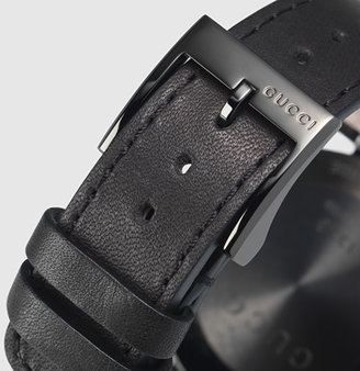 Gucci interlocking large black PVD and leather watch
