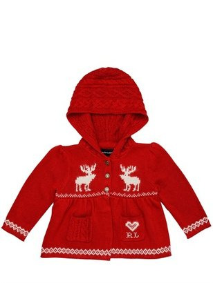 Ralph Lauren Hooded Embroidered Knit Cardigan