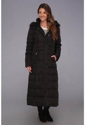 DKNY Maxi Down w/ Faux Fur Hood Coat (Black) - Apparel
