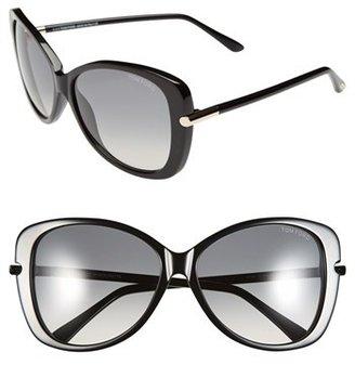 Women's Tom Ford 'Linda' 59Mm Sunglasses - Shiny Black $395 thestylecure.com