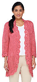 Liz Claiborne New York Pointelle Cardigan with Floral Trim $17.16 thestylecure.com