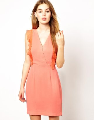 French Connection French Connection;;NOTGOOGLE;; Summer Breeze Mini Dress with Silk Ruffle Front - Orange