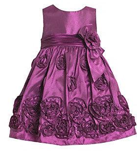 Bonnie Jean Girls' 2T-4T Purple Taffeta Soutache Dress