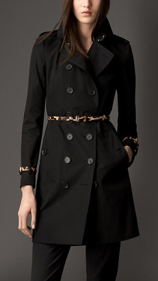 Burberry Mid-Length Trench Coat with Animal Print Trim