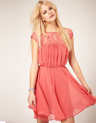 Asos Skater Dress with Lace Insert
