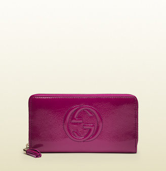 Gucci Soho Soft Patent Leather Zip Around Wallet
