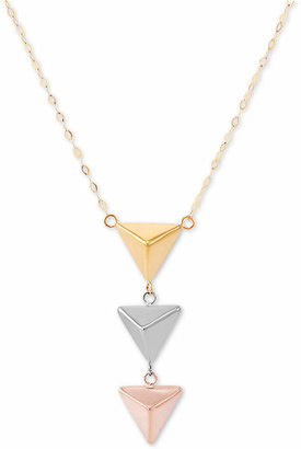 "Italian Gold Tri-tone 17"" Three Pyramid Necklace in 14K Gold"