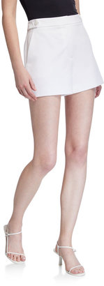 Milly Aria Button-Tab Cady Shorts