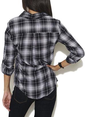 Wet Seal Roll Sleeve Plaid Shirt