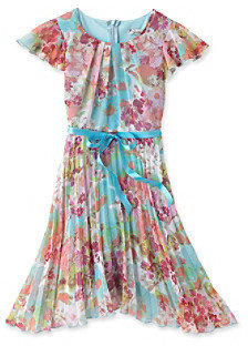 Speechless Girls' 7-16 Aqua Floral Dress with Bow