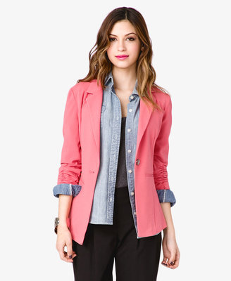 Forever 21 Ruched Single-Button Blazer
