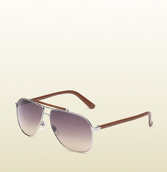 Gucci Aviator Sunglasses With Leather Brow Bar And Temples With Logo.