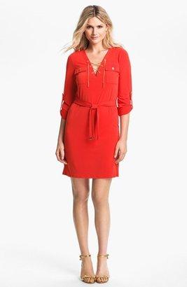 MICHAEL Michael Kors Chain Lace-Up Jersey Dress (Regular & Petite)