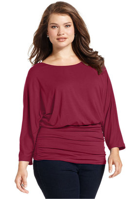 Style&Co. Plus Size Top, Long-Sleeve Blouson Waist Ruched