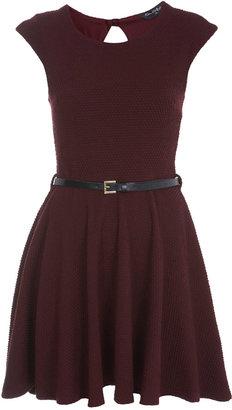 Miss Selfridge Burgundy textured skater dress