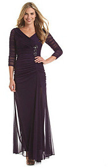 Adrianna Papell Draped Covered Gown