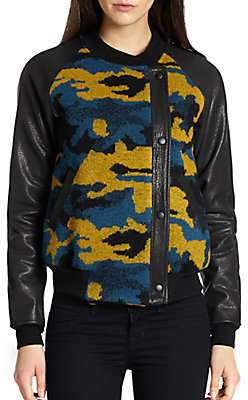Gryphon Camo Leather Combo Varsity Jacket