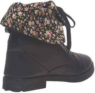 Wet Seal Ditsy Floral Foldover Combat Boot