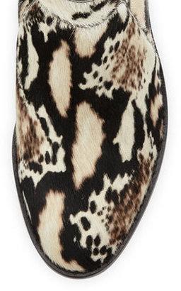 Loeffler Randall Ella Python-Print Calf Hair Ankle Bootie, Cream/Black