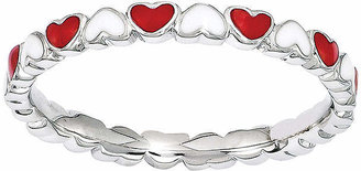 FINE JEWELRY Personally Stackable Red & White Enamel Stackable Heart Ring
