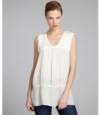 BCBGMAXAZRIA off white silk pleated v-neck ruffle trimmed tunic blouse