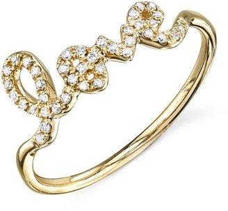 Sydney Evan Diamond Love Script Ring - Yellow Gold