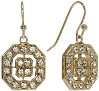 1928 Silver Tone Simulated Crystal Drop Earrings