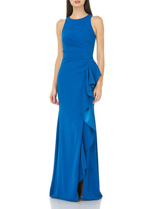 Carmen Marc Valvo Crepe Halter Gown with Side Ruffle