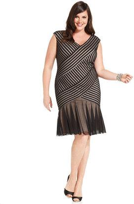 London Times Plus Size Dress, Cap-Sleeve Illusion Flared