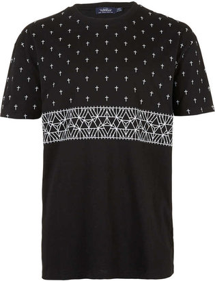 Topman Black Cross Oversize T-Shirt