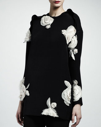 Lanvin Rose Applique Tunic, Black