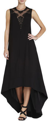 BCBGMAXAZRIA Denisa Sleeveless Lace-Yoke Gown