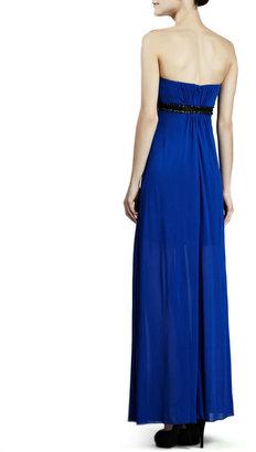 Aidan Mattox Strapless Beaded-Waist Jersey Gown