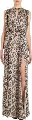 L'Agence Sleeveless Leopard Print Dress