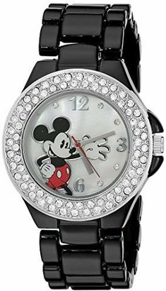 Disney Women's MK2069 Mickey Mouse Mother-of-Pearl Dial Black Enamel Bracelet Watch $22.99 thestylecure.com