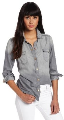 7 For All Mankind Women's Flap Pocket Denim Shirt In Tencel