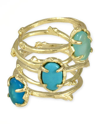 Kendra Scott Set of 5 Stormy Stacking Rings, Blue