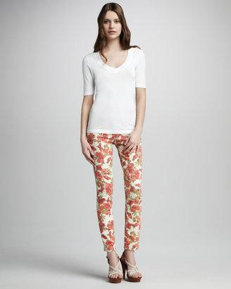 Paige Skyline Chello Floral-Print Ankle Peg Jeans