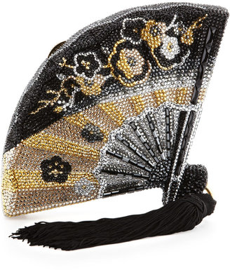 Judith Leiber Couture Fluttering Crystal Fan Minaudiere, Jet Multi
