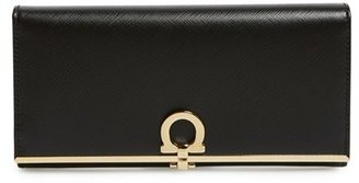Women's Salvatore Ferragamo 'Icona Bar' Saffiano Calfskin Wallet - Black $595 thestylecure.com