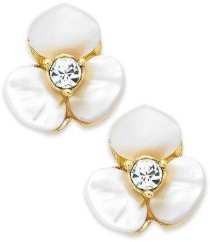 Kate Spade Earrings, Gold-Tone Cream Disco Pansy Flower Stud Earrings