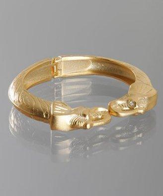 Kenneth Jay Lane matte gold double elephant head cuff