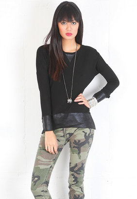 Singer22 Elena Leather Combo Long Sleeve Top in Black - by Generation Love