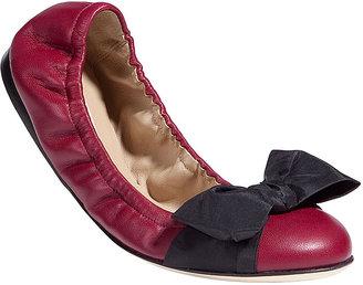 Valentino Bordeaux Bow-Embellished Ballerinas