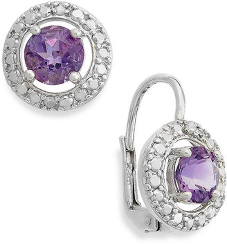 Townsend Victoria Sterling Silver Earrings, Amethyst (1-1/2 ct. t.w.) and Diamond Accent Round Leverback Earrings